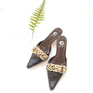Yellow box leopard and leather pointy toe mule